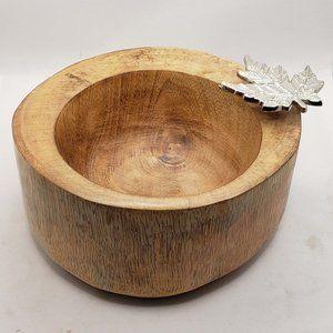 Wooden Dish Bowl  w/ Silver tone Metal Oak Maple L